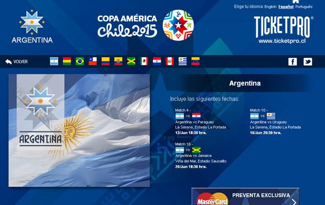 Las entradas se pueden comprar en la página oficial de la  Copa América 2015.