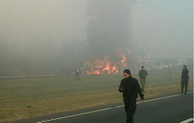 Choque múltiple en las ruta 9 km147 a la altura de Baradero (Foto: @Solotransito)