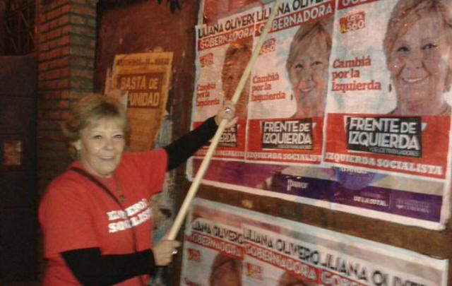 Olivero salió de pegatina de afiches y se desató la polémica (Foto: @LilianaOlivero)