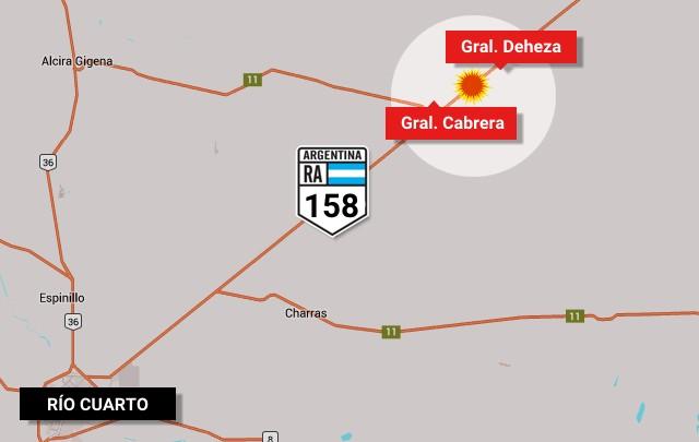 Accidente fatal en la ruta 158 en Córdoba.