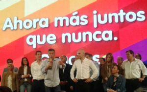 Macri, al pronunciar su discurso en el búnker del PRO.