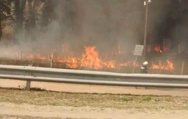 El fuego atravesó la ruta 9 sur cerca de Río Segundo (Foto Twitter: @Dieguitolunaok).