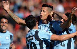 Márquez festeja el gol de Belgrano.