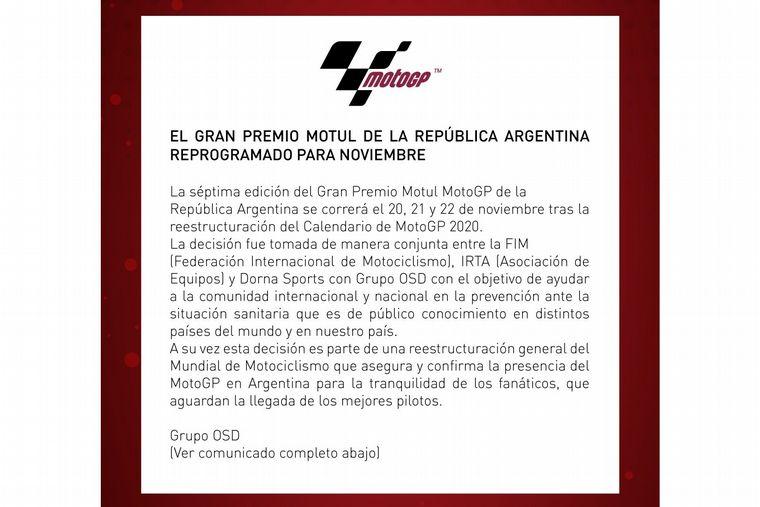 FOTO: Postergaron para noviembre el GP de Argentina de MotoGP