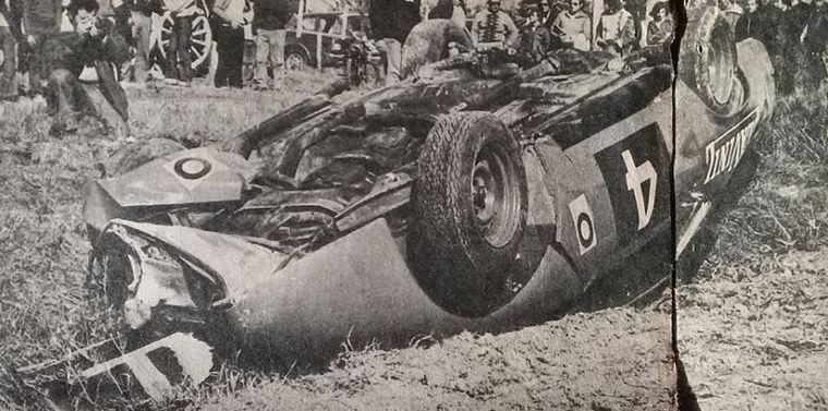 FOTO: José Pontoriero con Dodge (Nº17) tercero en la final de Pergamino 1975.