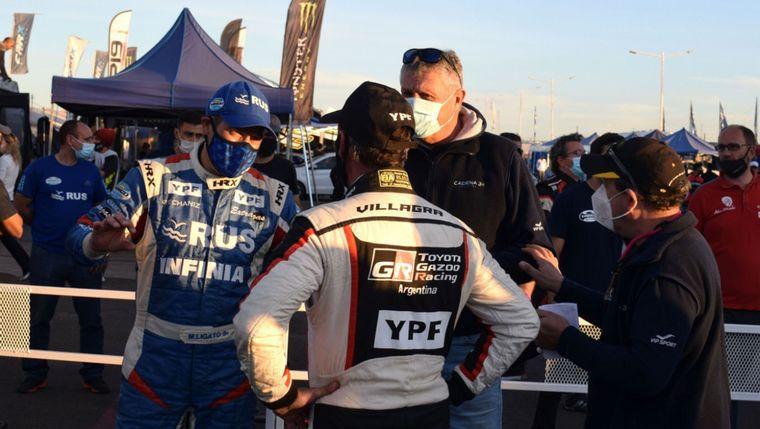 FOTO: Mario Baldo (Yaris) y Marcos Ligato (Agile), referentes del RallyCross.